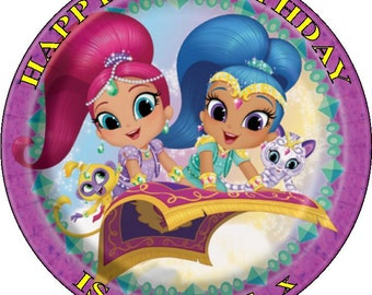 "SHIMMER AND SHINE - Design 2 ... Personalized 7.5"" Circle Icing Cake Topper"