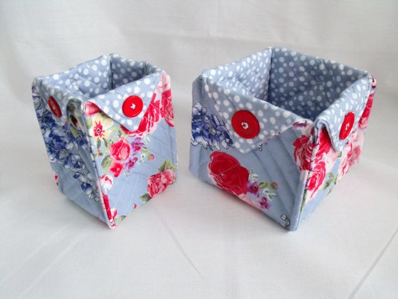 fabric baskets in blue, fabric dishes, storage pot, folded fabric box, dressing table tidy,