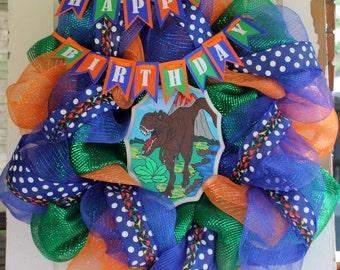 T tex wreath dinosaur wreath birthday wreath boy wreath front door wreath