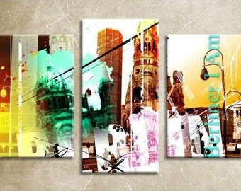 Berlin City - Large Wall Art Canvas Print 96 x 60cm