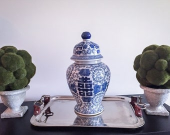 Gorgeous Vintage  Blue and White Ginger Jar!