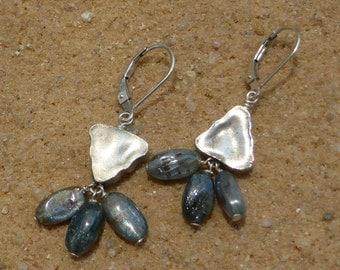 Kyanite Earrings Hill Tribe Silver Gemstone Sterling Silver Leverback Boho Asymmetrical Artisan Boho Designer Jewellery Silver Blue Earrings