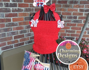 Lined crochet tutu top - 12 inch Tutu top with sewn ribbon straps - 4th of July tutu top Patriotic top - Adult tutu by- Charming Designs