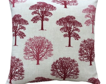 Beautiful Marson Tree design fabric in raspberry wine made in Britain modern country  cushion cover pillow case