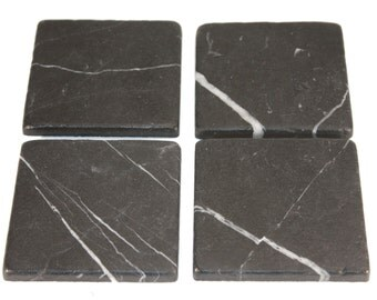 4 inch Black White Tumbled Marble Drink Stone Coasters 1 set of four