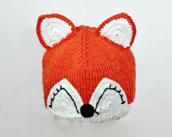 Fox hat animal hat knit baby hat photo props baby girl toddler fox hat winter hat with ears children costume kids dress up infant beanie