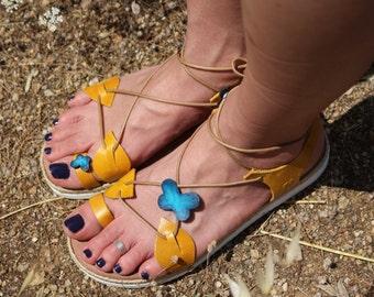 leather sandals, blue butterflies, comfortable sandals, summer shoes, strap sandals, adjustable sandals
