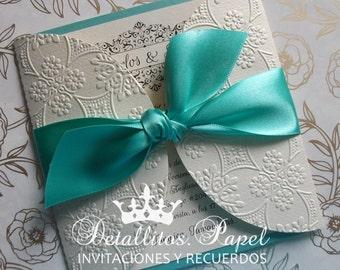 Quinceañera Invitation, Wedding Invitation, Sweet 16 Invitations, Bridal shower invitation, Gatefold Invitation