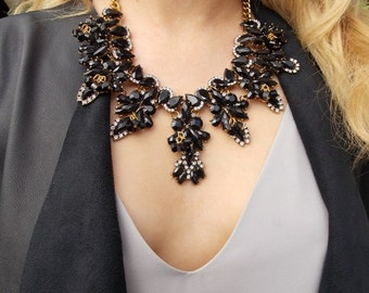 Black Jewelled Stone Statement Necklace