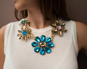 Chunky Jewelled Floral Statement Necklace