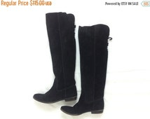 Summer SALE 90s Size 6.5M Tall Black Boots | Suede Over the Knee Boots | Nine West
