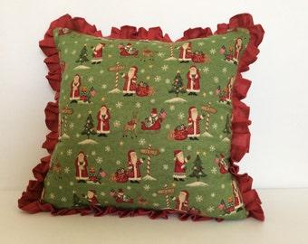Santa Claus Pillow Cover,Green Pillow, Red Ruffled Pillow, Christmas Decor, Holiday Pillow, Santa Claus Reindeer Pillow, Christmas Accent