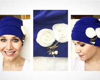 Blueberry Birds Chemo Hat