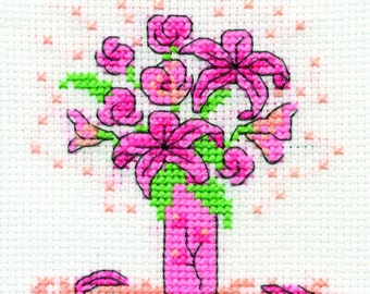 DMC BK9990A Pink Lilies - Pink Ribbon Foundation Mini Cross Stitch Kit