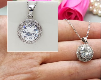 Wedding bridal AAA Cubic Zirconia Necklace, CZ  bridesmaid Necklace gifts
