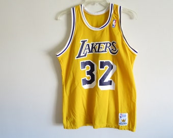 af7ea448f ... Vintage 80s Los Angeles Lakers Magic Johnson 32 jersey by Sand Knit  Made ...