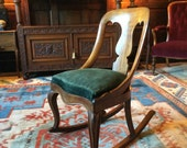 Exquisite Antique Victorian Rocking Chair Mahogany 19th Century Rocker Armchair