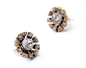 Vintage Petals Crew Style Crystal Brass Leaves Earrings