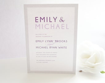 Modern Purple Wedding Program, Modern Wedding Program, Printed Wedding Program, Color Customize, Wedding Programs- DEPOSIT