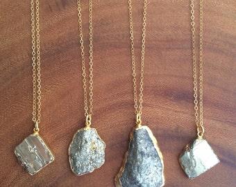 Pyrite Necklace // Pyrite Gold Necklace // Pyrite Pendant Nrcklace