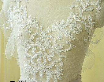 1Pc Lace Applique Ivory Tulle Floral Paillette Alice Sequins Applique Collar Altered Clothing Sewing