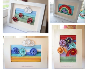 "Mini textile Zip Art - 7"" x 5"" - unframed handcrafted by Habercraftey"