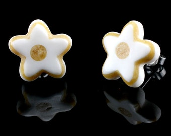 "Hand Carved- ""Candy Flower"" - Gentawas Wood with Bone Inlay Stud Earring - Freedom"