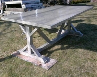 Rustic Farmhouse Trestle Base Table (Reclaimed Wood)