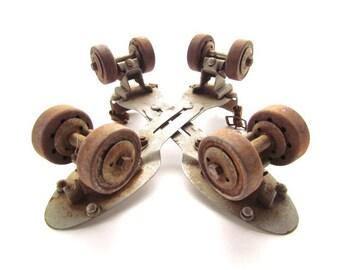 Antique Pair Of Metal Union Hardware Roller Skates