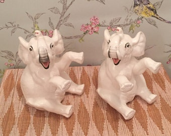 Whimsical Fitz and Floyd Ceramic Elephant Bookends - A Pair