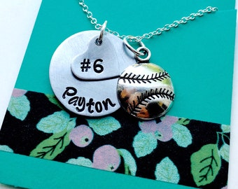 Softball Necklace, Softball Name Necklace, Personalized Softball Necklace, Baseball Mom, Girls Baseball Necklace, Girls Softball