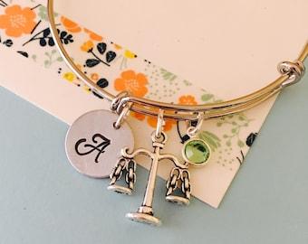 Scales of Justice Bracelet, Initial Necklace Lawyer Bracelet, Judge Bracelet, Paralegal Bracelet, Law Student Gift, Monogram Bracelet