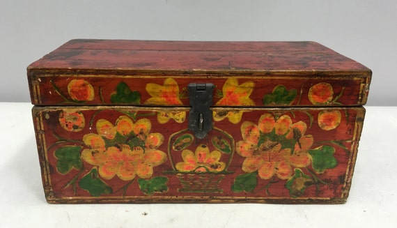 Box India Red Painted Wood Yellow Flower Handmade Wood Box Letters Recipes Storage Decorative India Unique P