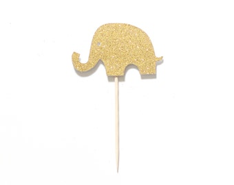 12 Elephant Glitter Cupcake Toppers Picks -Baby Shower Birthday Party Supplies - Gold or Any Color Glitter
