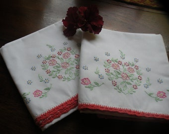 Sweet Cottage Flower Pillowcases, 1950s Vintage