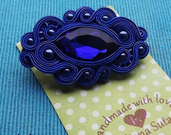 Sapphire Marquis  soutache  brooch