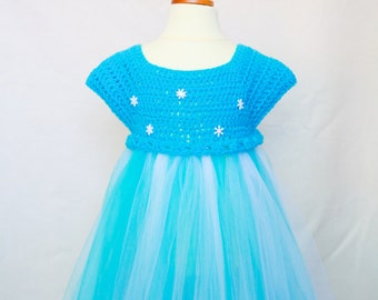 Fozen inspired crochet bodice and tulle skirt dress, wedding, party, holiday get together or princess time