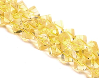 DIY Citrine Square Shape Topaz Loose Beads with String 30cm (8mm Beads)-WEN35073217963-MAY