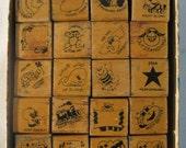 15% Sale Old Rubber Stamps Teacher Rubber Stamp Kit Lot of 20 Original Box 1982