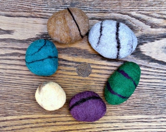 Felted rocks, stones ~ include a secret message!
