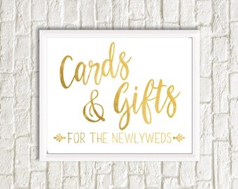 Cards & Gifts Sign, Gold, Digital File, Print at home