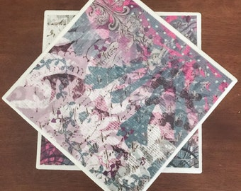 Pink coasters, green coasters, ceramic tile coasters, tile coasters, coaster set, drink coasters