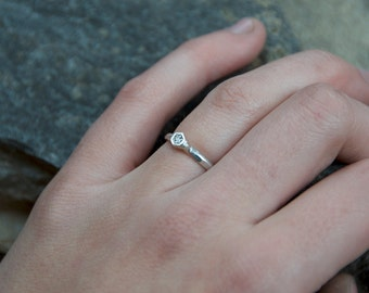 Hexagon Sparkle Ring- Sterling Silver with CZ