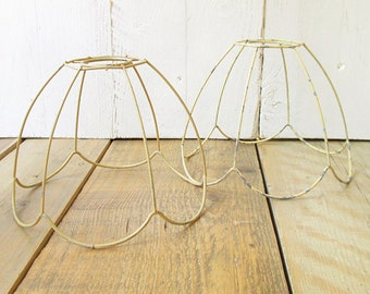 2 Vintage lampshade wireframes. Lamp shades. Wire frames.