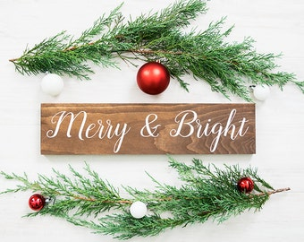 Farmhouse Christmas Decor- Rustic Christmas Decor- Merry and Bright Sign- Christmas Sign- Rustic Holiday Decor- Holiday Sign