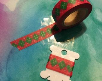 """Red Christmas Argyle Washi Tape Sample 24"""""""