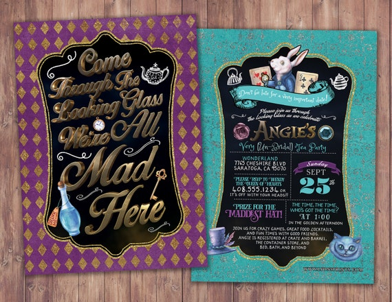 Bridal shower mad hatter tea party alice in wonderland invitation il570xn filmwisefo