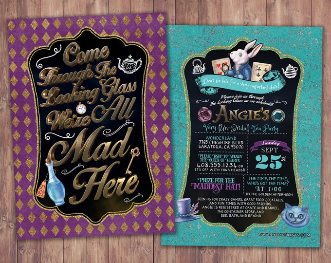 Bridal shower, Mad Hatter Tea Party, Alice in Wonderland Invitation /  Birthday Invitation / Printable for Birthday or Wedding / coed  Baby