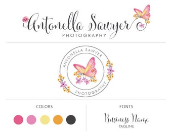 butterfly logo premade logo package floral logo custom logo design watermark photography logo business logo script logo marketing package
