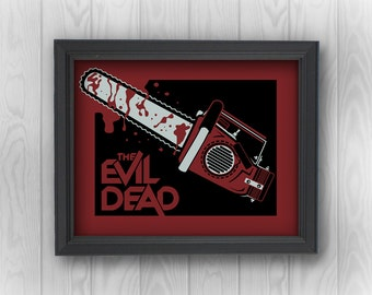 Evil Dead: Chainsaw bloody movie parody funny | Minimalist Pop Art | Canvas Wall Decor, Prints, Stickers, Drink Coasters